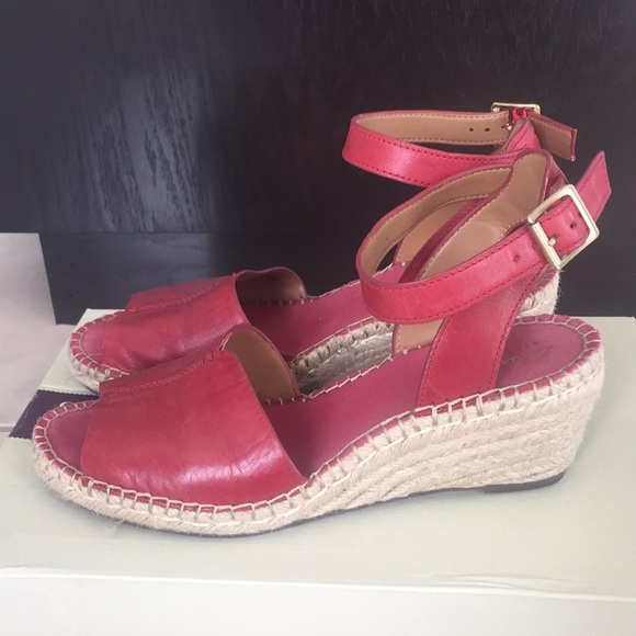 4564ee58a19f Clarks Shoes - Clarks Red Leather Wedge Espadrille sz 8.5